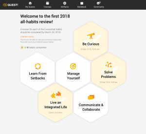 A screenshot from the Quest app, displaying the 6 Essential Habits in hexagons, in a honeycomb arrangement.