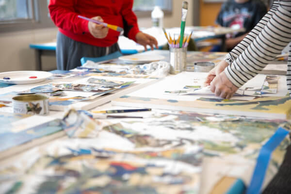 Students creating artwork at Quest Forward Academy Santa Rosa