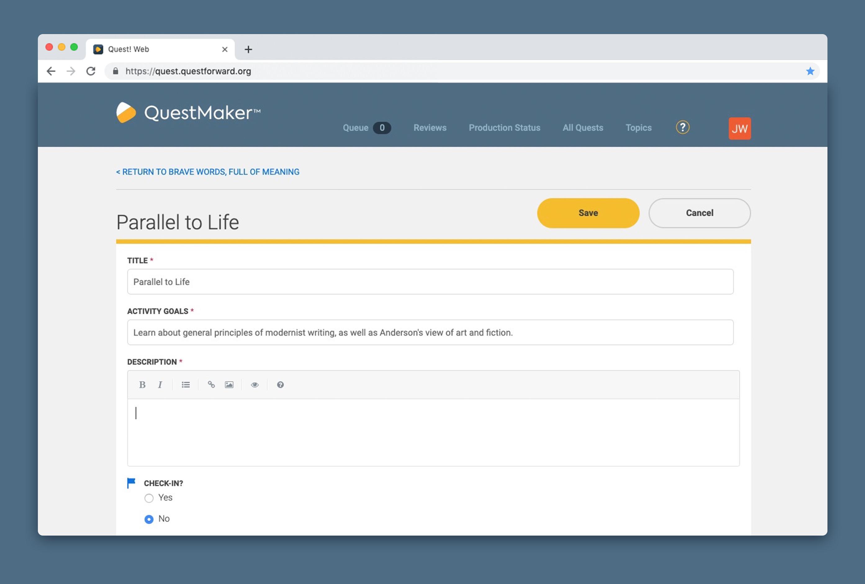 A quest designer edits a quest activity called