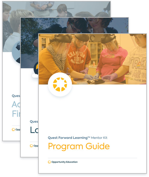 A stack of guidebooks from the Mentor Kit, including the Quest Forward Learning Program Guide.