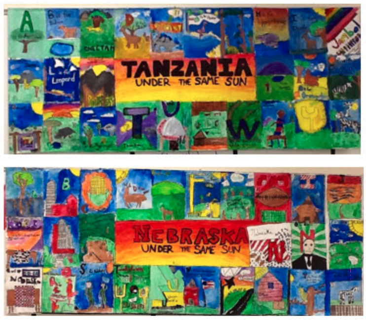 "Student pen-pal artwork reads ""Tanzania, under the same sun"" and ""Nebraska, under the same sun."""