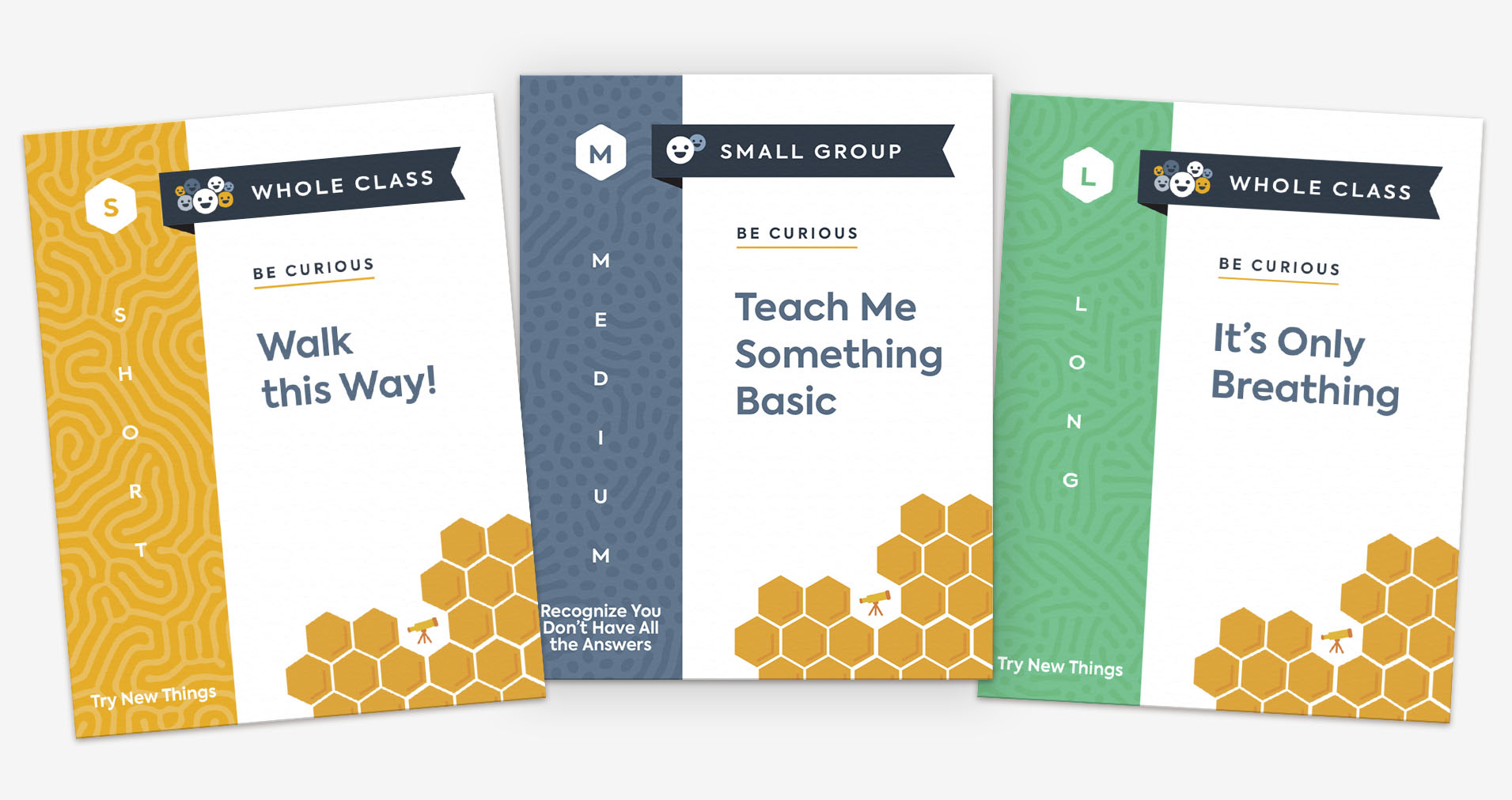 "Three practice cards, titled ""Walk this Way!,"" ""Teach Me Something Basic,"" and ""It's Only Breathing."""