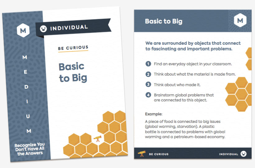 A screenshot of the front and back of the card Basic to Big. The card is categorized as a medium, individual activity where students are encouraged to recognize they don't have all the answers.