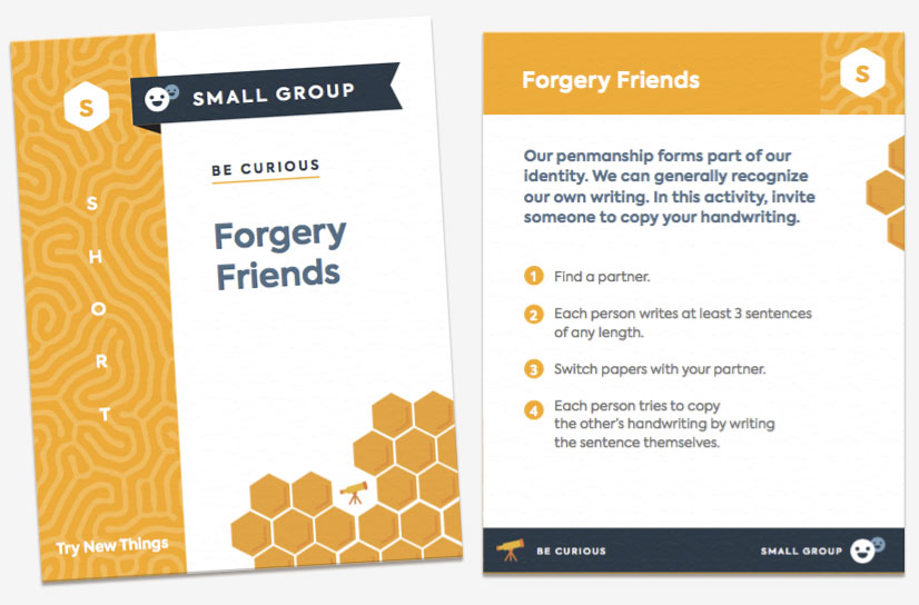 "The front and back of the card ""Forgery Friends."" The card is categorized as a short, small group activity and encourages students to try new things."