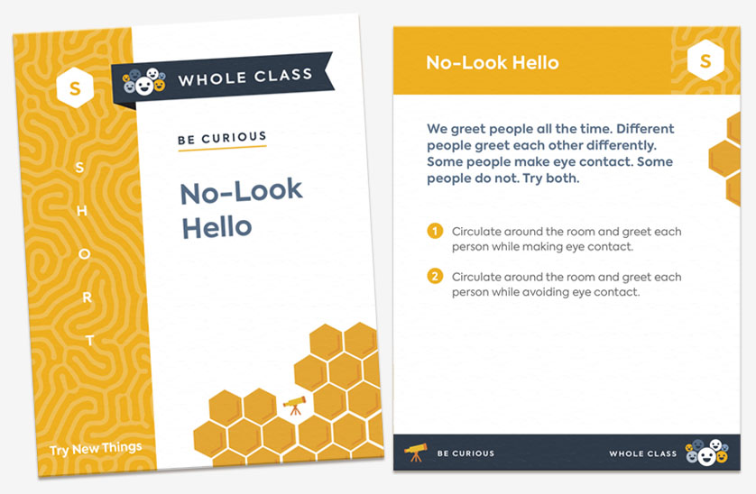 "The front and back of the card ""No-Look Hello."" The card is categorized as a short, whole-class activity and encourages students to try new things."
