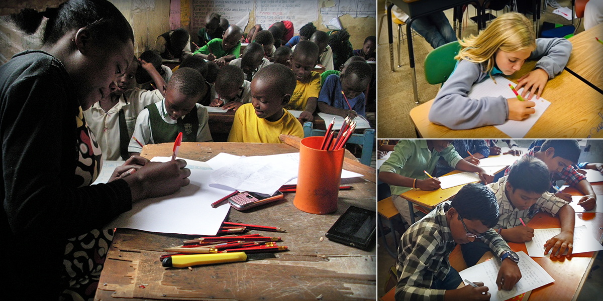 A collage of three images. In the first one, young children sit in a small classroom doing work. In the second image, a young girl sits at a desk writing on a piece of paper. In the third image, a row of young boys sit at a long desk working.