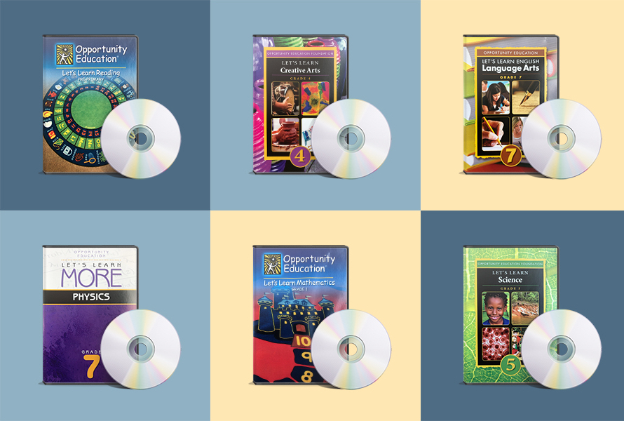 "A 2x3 grid depicting the different DVDs that were created for the Primary School Program. Their titles are ""Let's Learn Reading,"" ""Let's Learn Creative Arts,"" ""Let's Learn English Language Arts,"" ""Let's Learn More Physics,"" ""Let's Learn Mathematics,"" ""Let's Learn Science."""