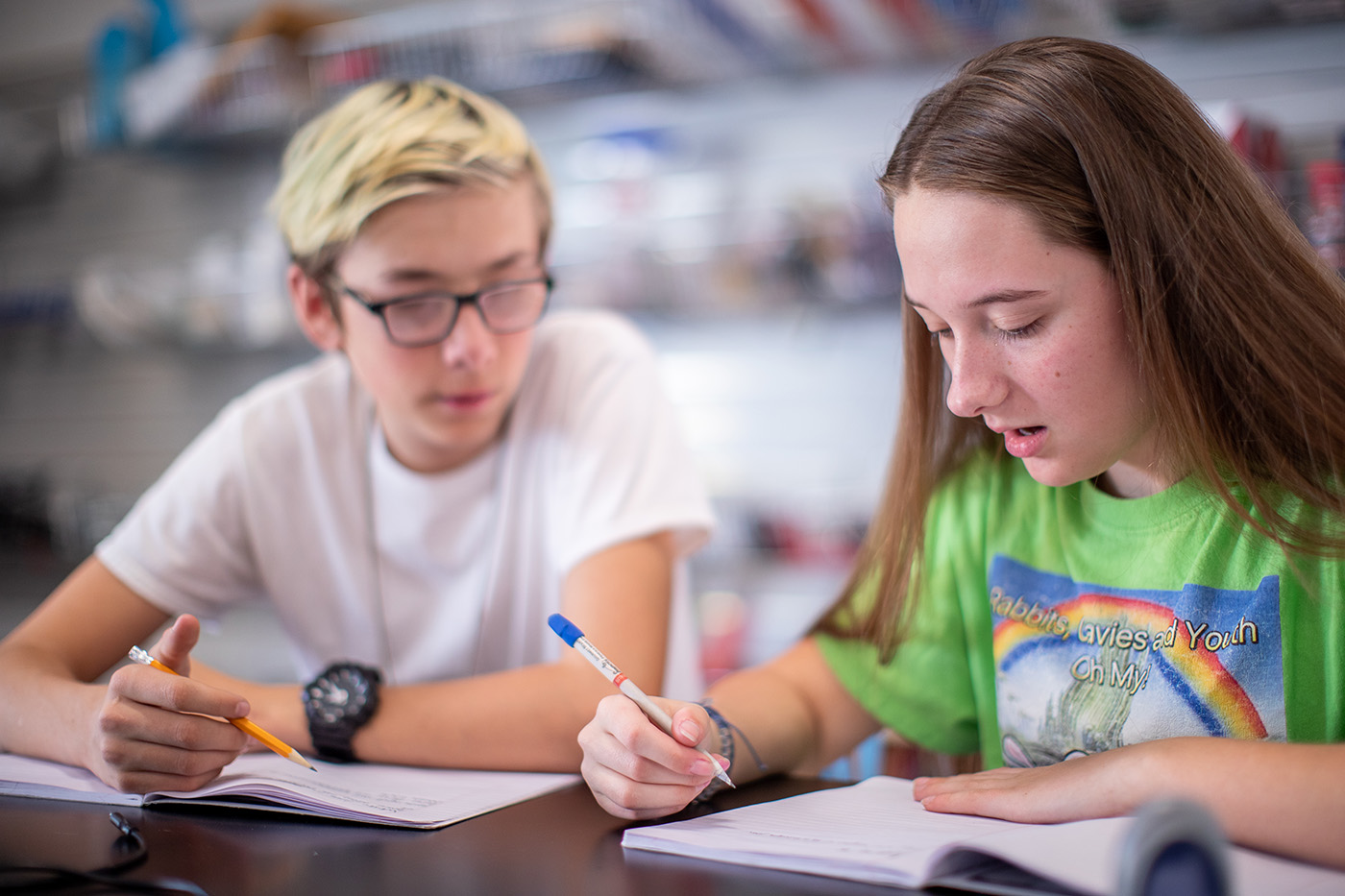 Two students collaborate together at Quest Forward Academy Santa Rosa.