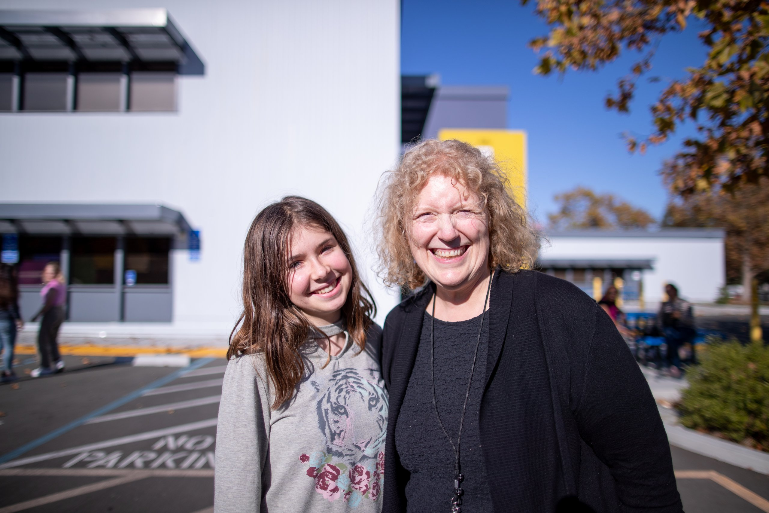 School Counselor Heather Concoff with a student outside Quest Forward Academy Santa Rosa
