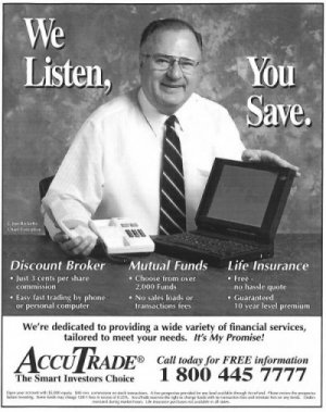 AccuTrade ad featuring Joe Ricketts, who revolutionized the industry by empowering individuals.