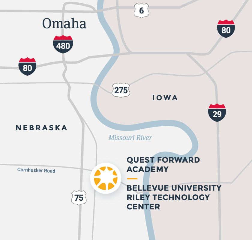 A map of the Omaha, Nebraska region, highlighting Quest Forward Academy Omaha on the campus of Bellevue University.