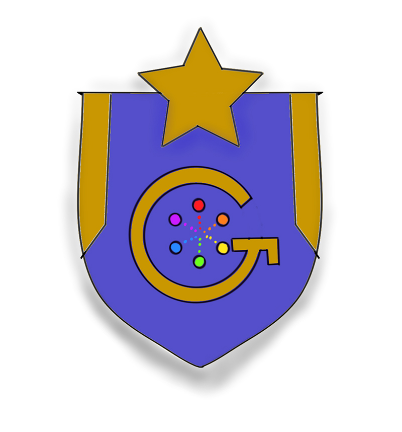 A hand-drawn badge is in a bright purple shield shape, with a gold star at the top, a stylized G in the center, and a spectrum of colorful circles within the letter G.