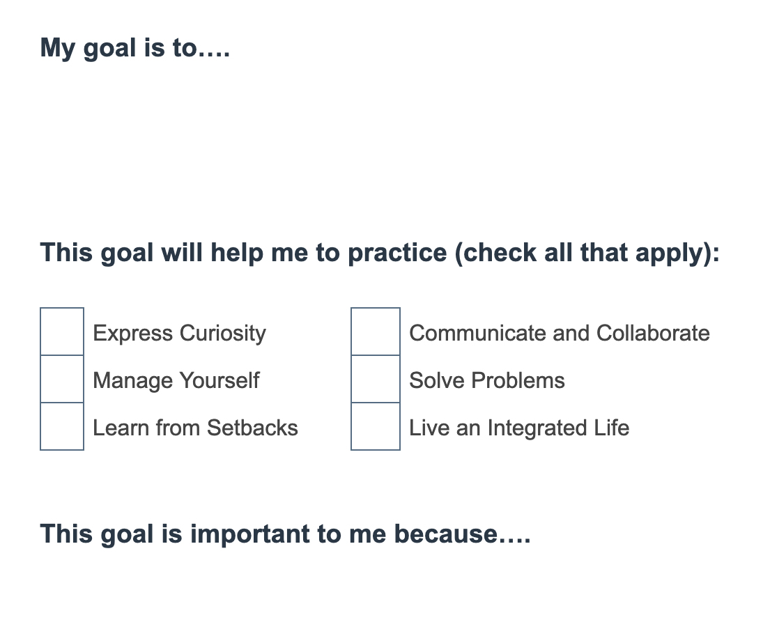 A screenshot of a goal-setting prompt worksheet asks participants to set a goal, identify which Essential Habit the goal will help them practice, and why the goal is personally important to them.