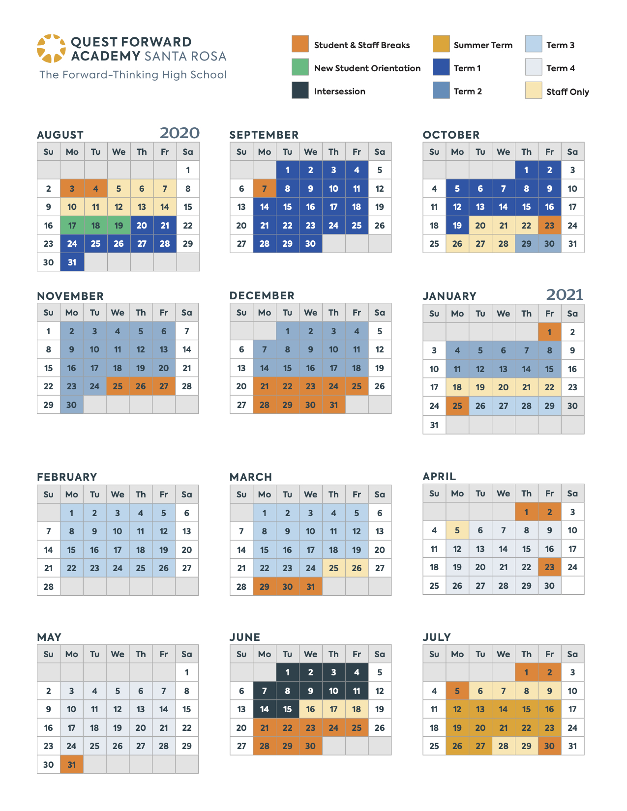 The 2020-2021 school year calendar for Quest Forward Academy Santa Rosa.
