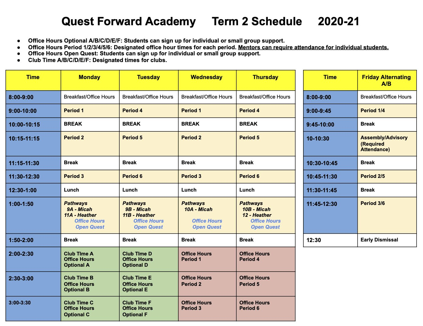 The Term 2 schedule for Quest Forward Academy Santa Rosa.