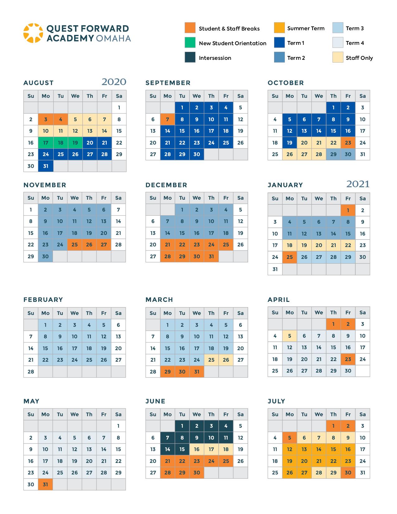 The academic calendar for Quest Forward Academy Omaha, 2020-2021