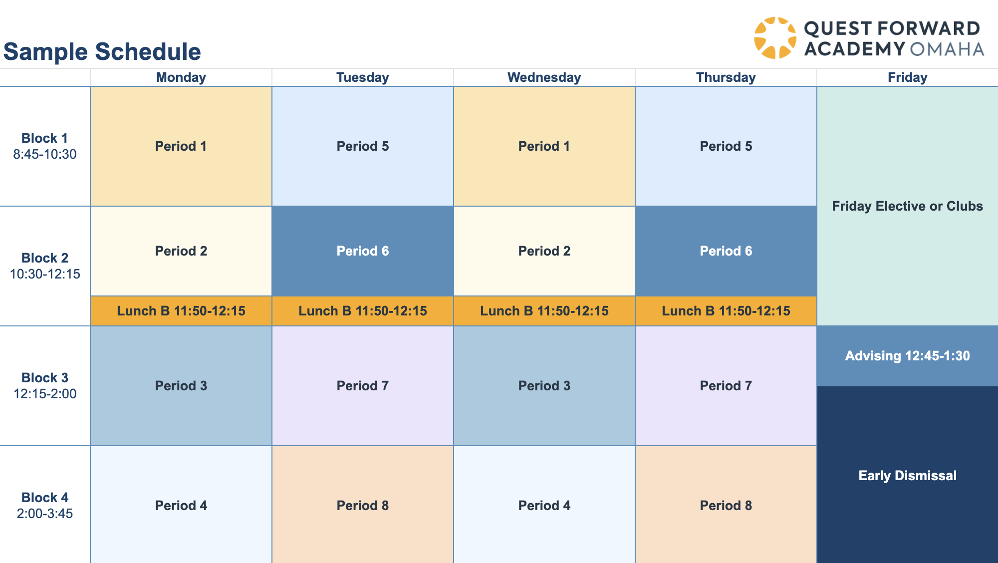 A sample student weekly class schedule at Quest Forward Academy Omaha.