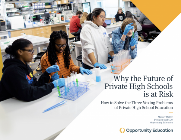 "The cover of the ebook by Opportunity Education, titled ""Why the Future of Private High Schools is at Risk."""