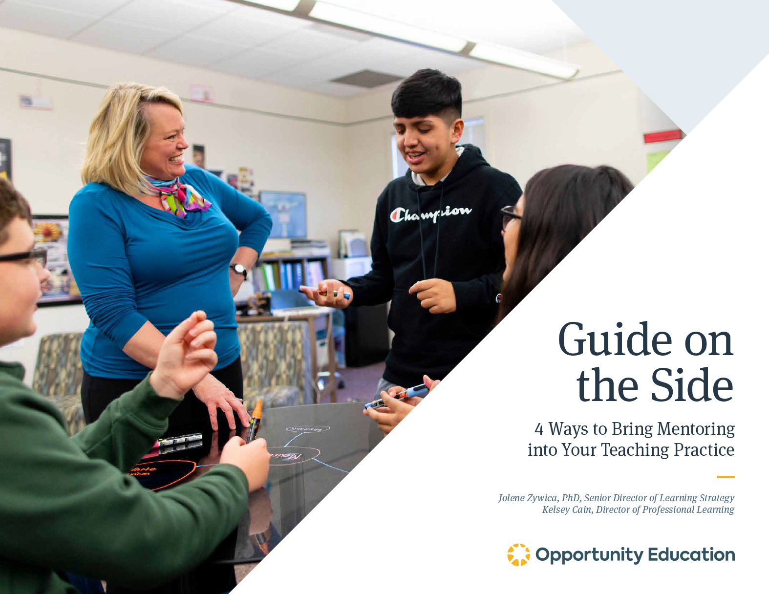 """The cover of Opportunity Educations ebook, """"Guide on the Side."""""""