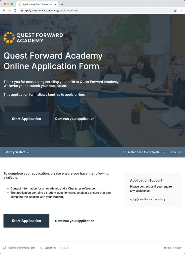 A screenshot of Quest Forward Academy's online application webpage.