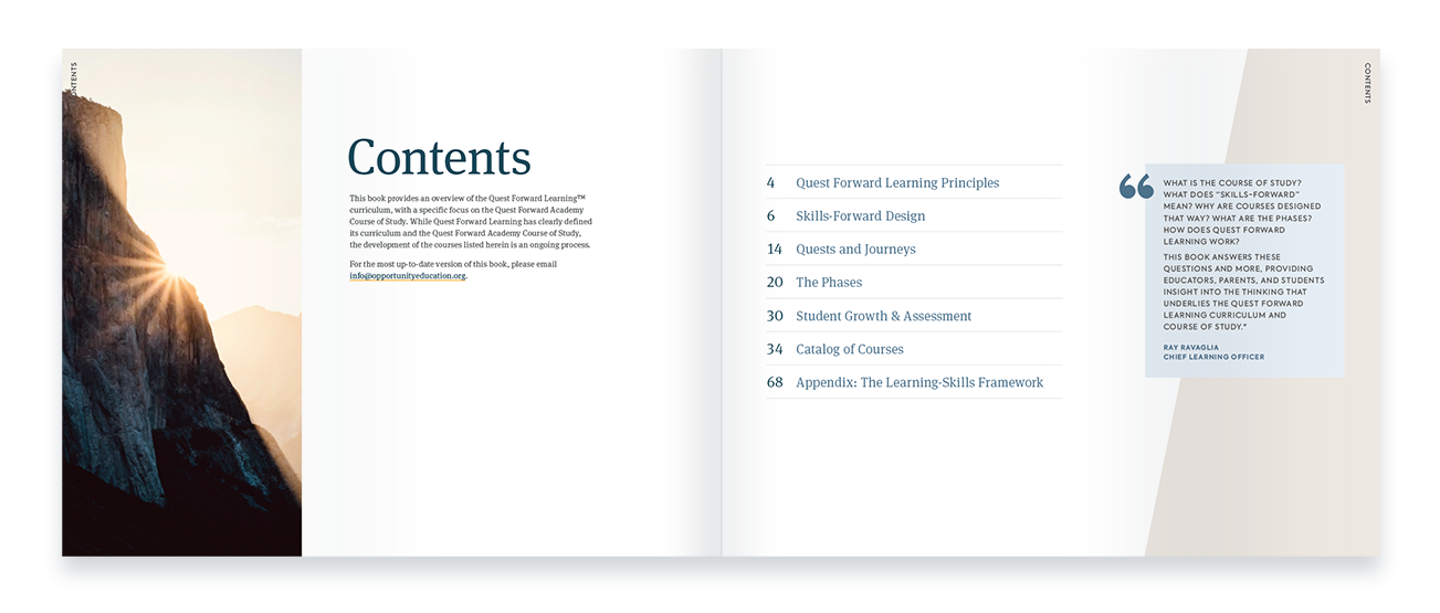 The 2021 Course of Study book is displayed open to a spread containing the table of contents.