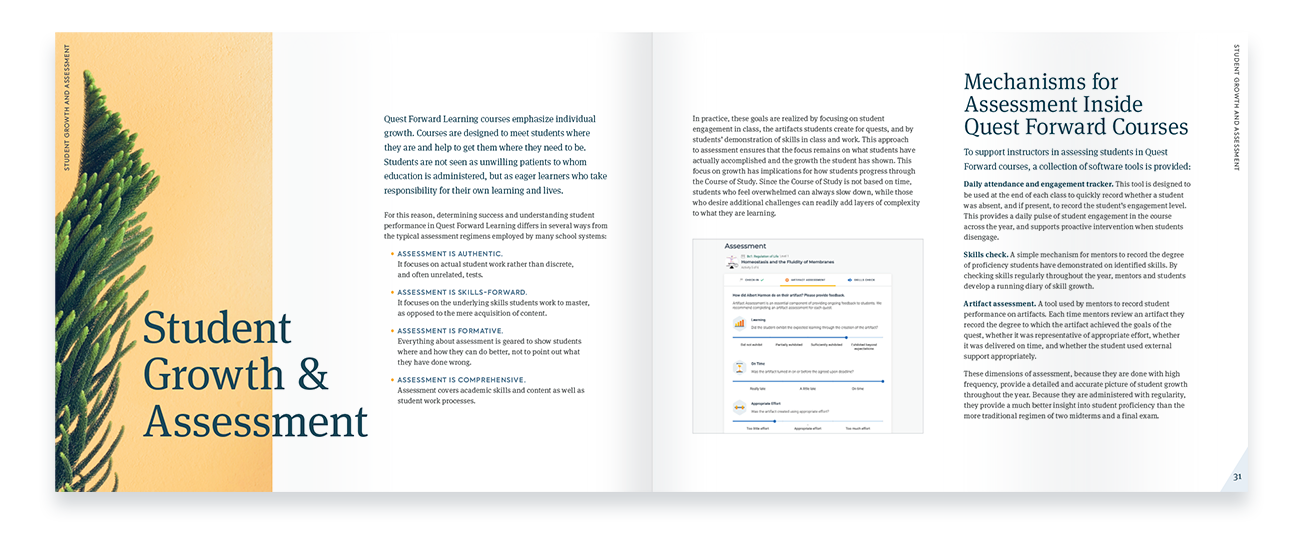 The 2021 Course of Study book is displayed open to a spread containing content on assessment and student growth.