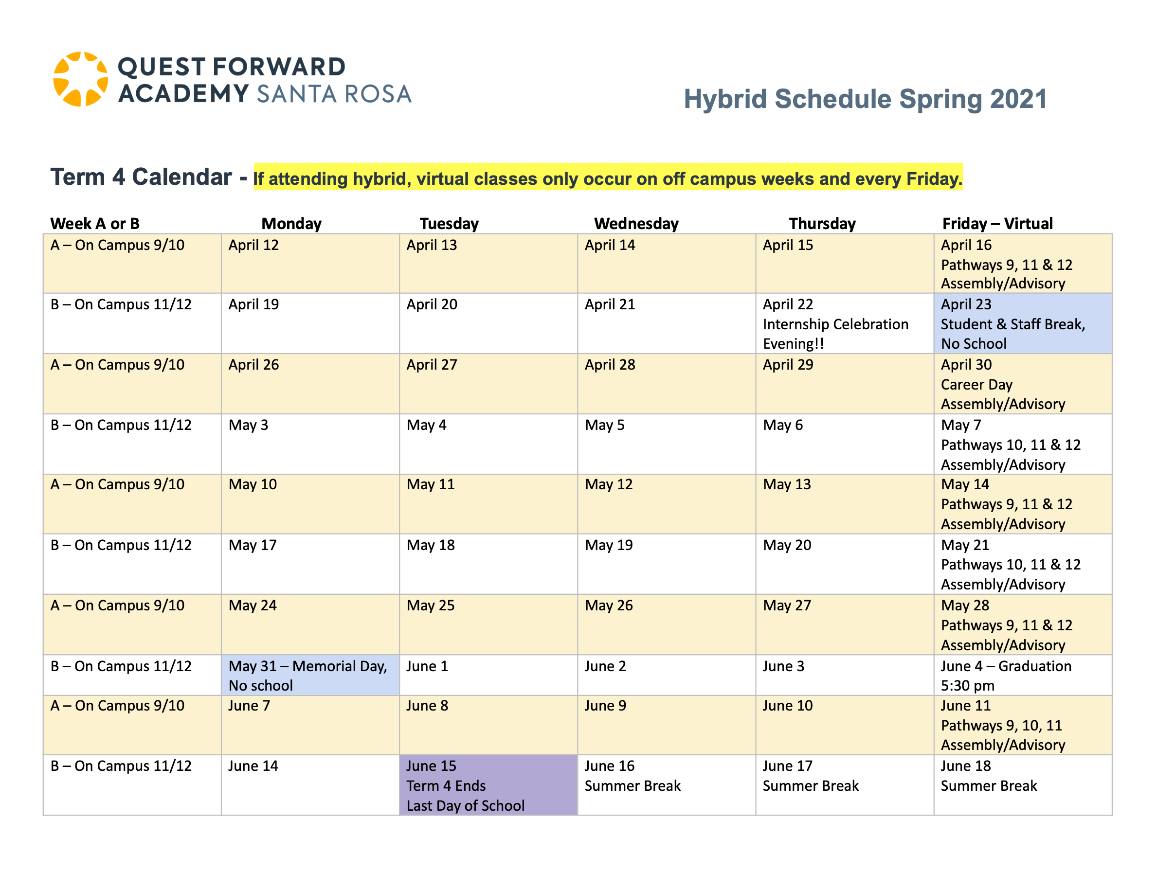 """A table displays the """"A"""" and """"B"""" weeks in the term 4 schedule for Quest Forward Academy Santa Rosa"""